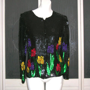 Vintage Sequin Beaded Tulip Formal Holiday Jacket